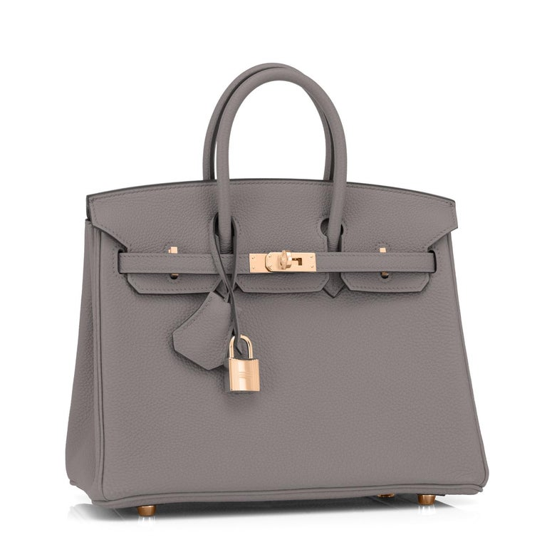 Hermes Birkin 25cm Etain Tin Grey Rose Gold Hardware Bag Y Stamp, 2020 Just purchased from Hermes store; bag bears new interior 2020 Stamp. Brand New in Box. Store fresh. Pristine Condition (with plastic on hardware) Perfect gift!  Comes with keys,