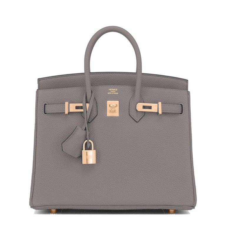 Gray Hermes Birkin 25cm Etain Tin Grey Rose Gold Hardware Bag Y Stamp, 2020 For Sale