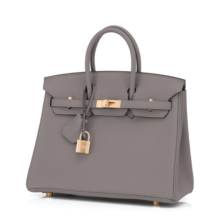 Hermes Birkin 25cm Etain Tin Grey Rose Gold Hardware Bag Y Stamp, 2020 In New Condition For Sale In New York, NY