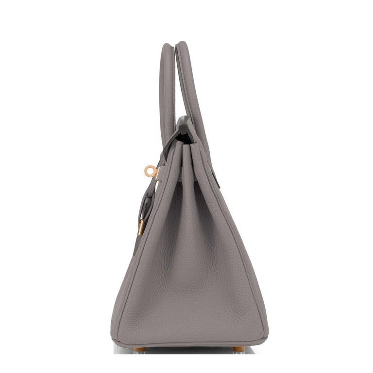 Hermes Birkin 25cm Etain Tin Grey Rose Gold Hardware Bag Y Stamp, 2020 For Sale 1