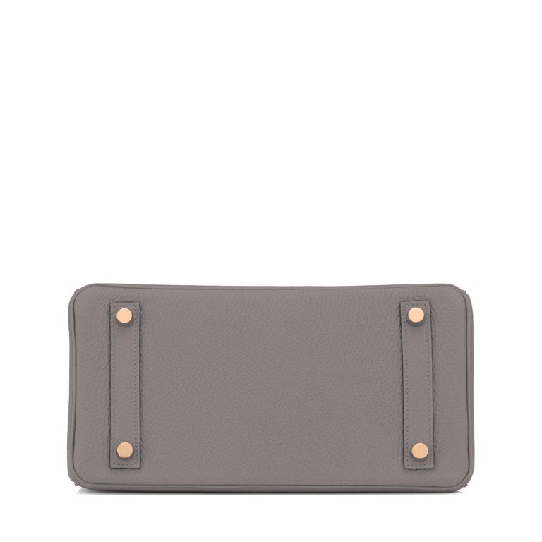 Hermes Birkin 25cm Etain Tin Grey Rose Gold Hardware Bag Y Stamp, 2020 For Sale 2