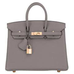 Hermes Birkin 25cm Etain Tin Grey Rose Gold Hardware Bag Y Stamp, 2020