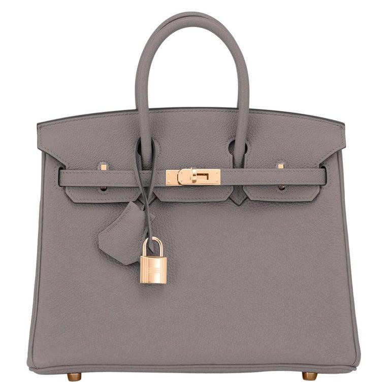Hermes Birkin 25cm Etain Tin Grey Rose Gold Hardware Bag Y Stamp, 2020 For Sale