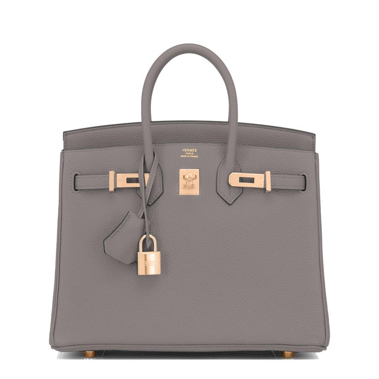 Gray Hermes Birkin 25cm Etain Tin Grey Rose Gold Hardware Bag Z Stamp, 2021 For Sale