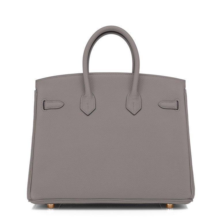 Women's Hermes Birkin 25cm Etain Tin Grey Rose Gold Hardware Bag Z Stamp, 2021 For Sale