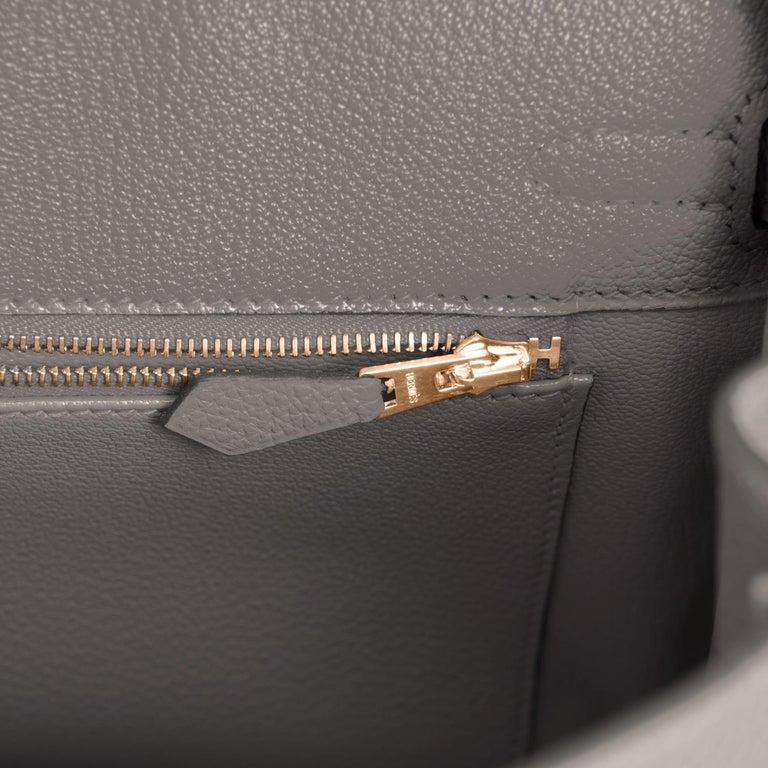 Hermes Birkin 25cm Etain Tin Grey Rose Gold Hardware Bag Z Stamp, 2021 For Sale 4
