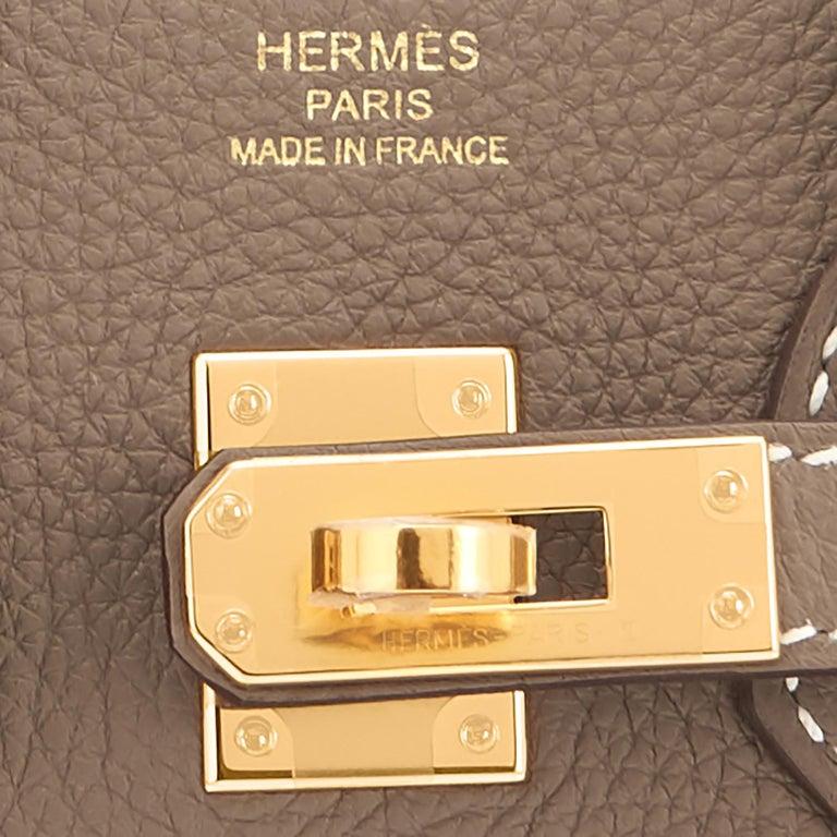 Hermes Birkin 25cm Etoupe Taupe Togo Gold Hardware Bag Y Stamp, 2020 For Sale 7