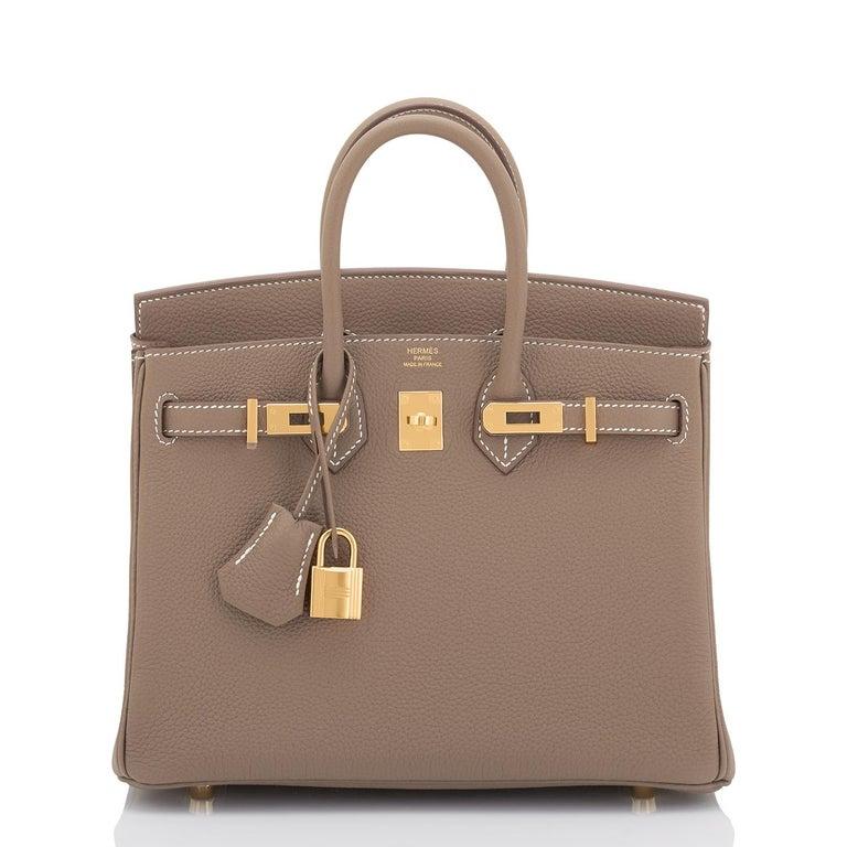 Brown Hermes Birkin 25cm Etoupe Taupe Togo Gold Hardware Bag Y Stamp, 2020 For Sale