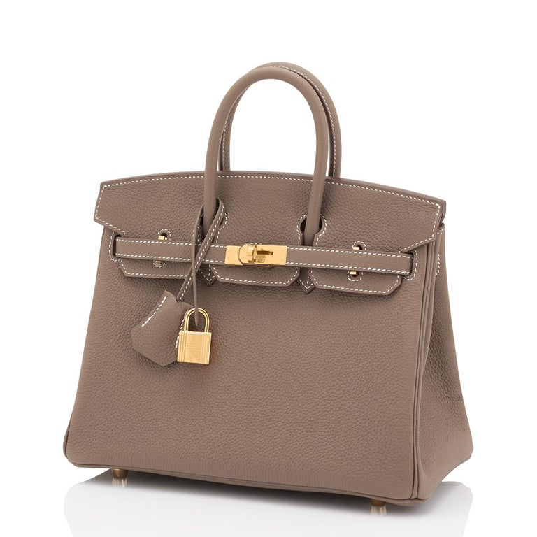 Hermes Birkin 25cm Etoupe Taupe Togo Gold Hardware Bag Y Stamp, 2020 In New Condition For Sale In New York, NY