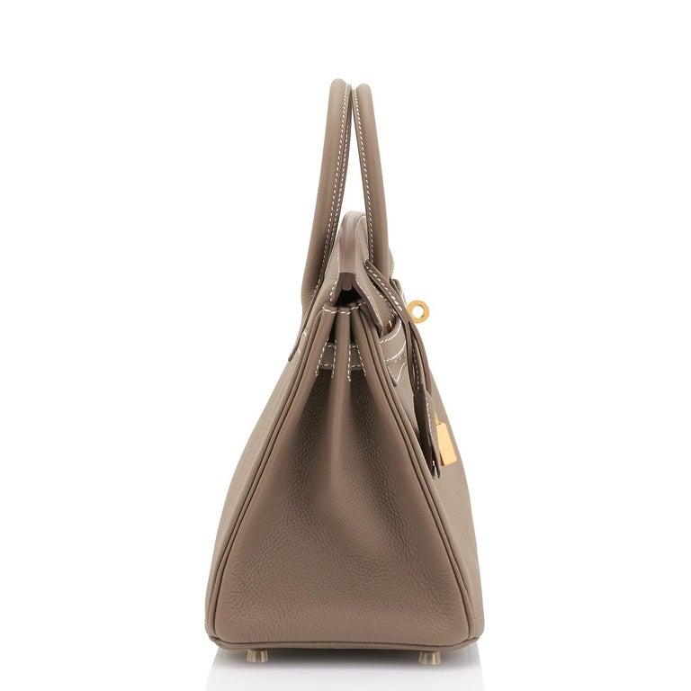 Women's or Men's Hermes Birkin 25cm Etoupe Taupe Togo Gold Hardware Bag Y Stamp, 2020 For Sale