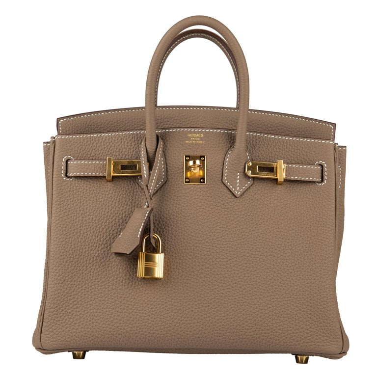 Brown Hermès Birkin 25cm Etoupe Togo Leather Gold Hardware For Sale
