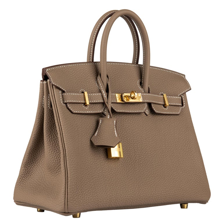 Women's or Men's Hermès Birkin 25cm Etoupe Togo Leather Gold Hardware For Sale