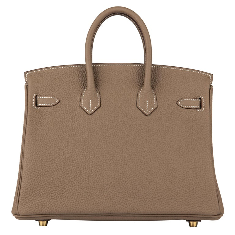 Hermès Birkin 25cm Etoupe Togo Leather Gold Hardware For Sale 1
