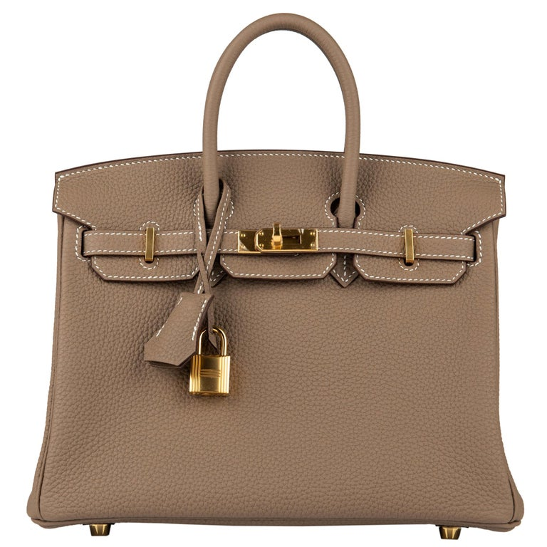 Hermès Birkin 25cm Etoupe Togo Leather Gold Hardware For Sale