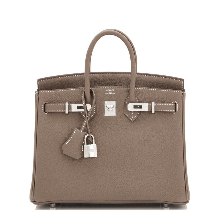 Hermes Birkin 25cm Etoupe Togo Palladium Bag  In New Condition For Sale In New York, NY
