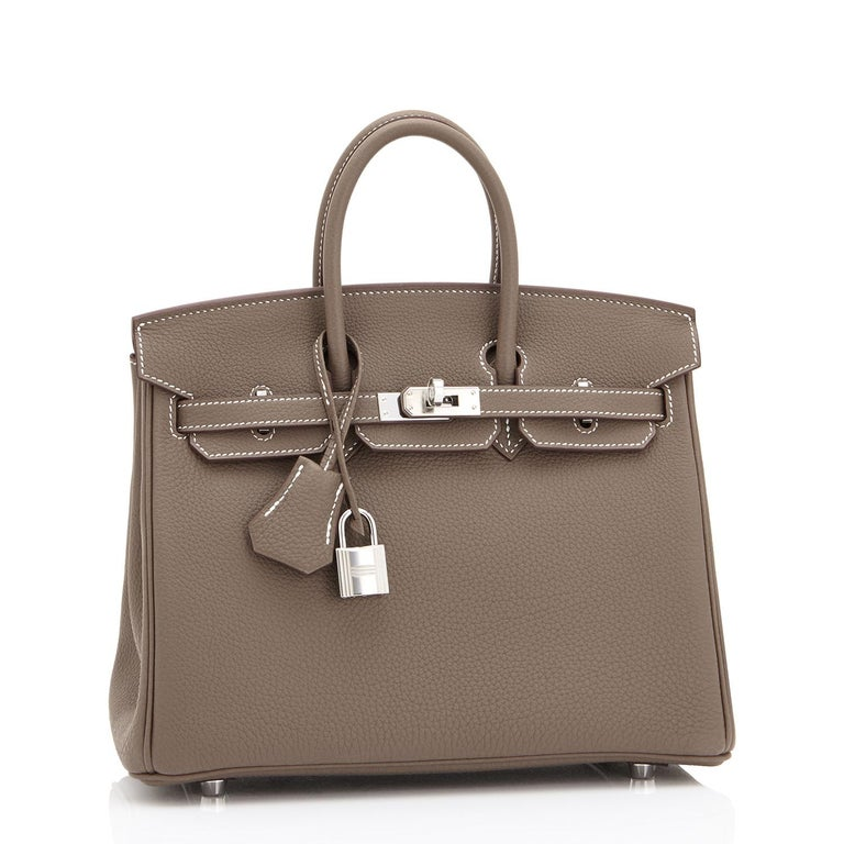 Women's or Men's Hermes Birkin 25cm Etoupe Togo Palladium Bag  For Sale