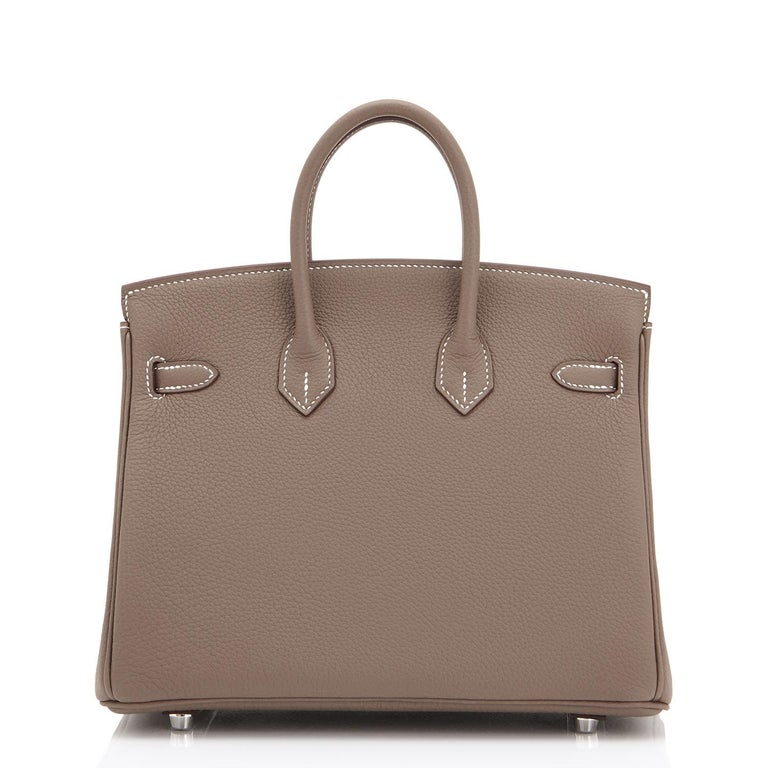 Hermes Birkin 25cm Etoupe Togo Palladium Bag  For Sale 1