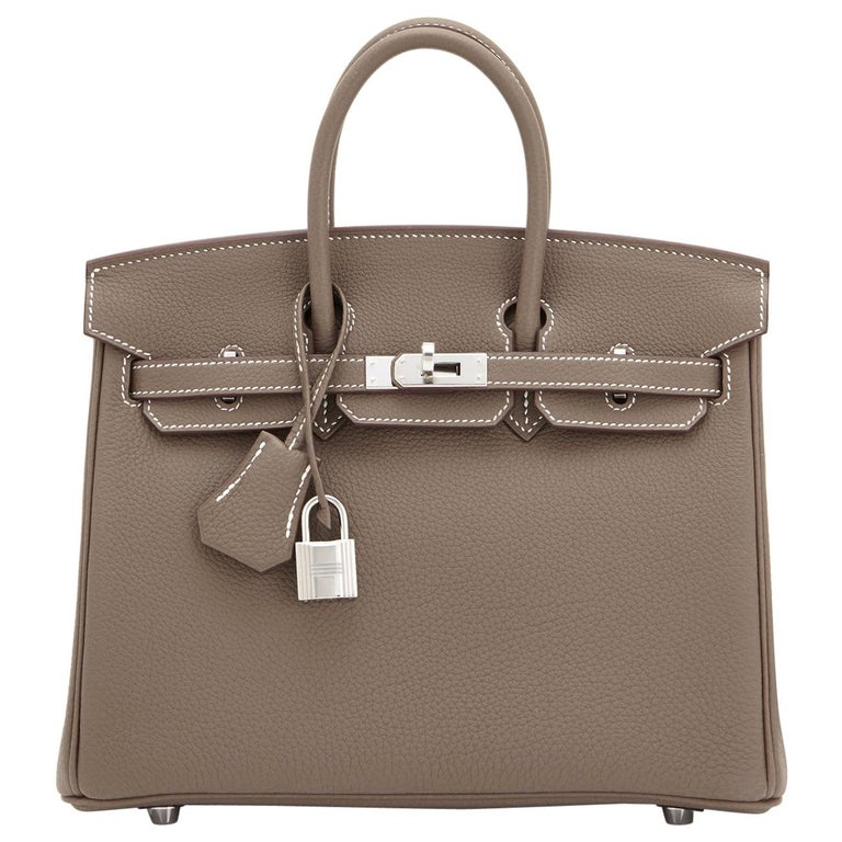 Hermes Birkin 25cm Etoupe Togo Palladium Bag  For Sale