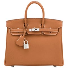 Hermes Birkin 25cm Gold Verso Gris Tourterelle Bi-Color VIP Bag Y Stamp, 2020