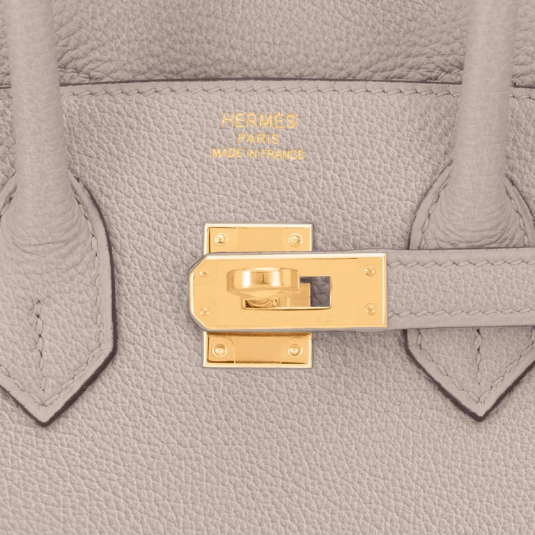 Hermes Birkin 25cm Gris Asphalte Grey Beige Bag Gold Hardware Y Stamp, 2020 For Sale 6