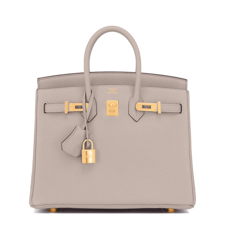 Hermes Birkin 25cm Gris Asphalte Grey Beige Bag Gold Hardware Y Stamp, 2020 In New Condition For Sale In New York, NY