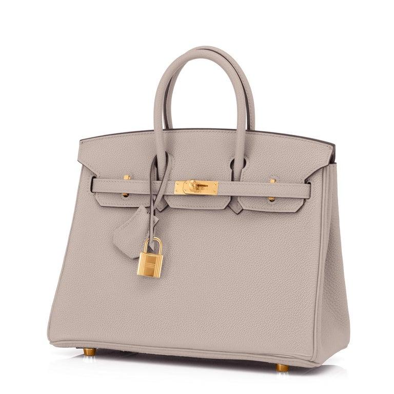 Women's or Men's Hermes Birkin 25cm Gris Asphalte Grey Beige Bag Gold Hardware Y Stamp, 2020 For Sale