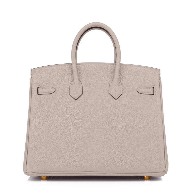 Hermes Birkin 25cm Gris Asphalte Grey Beige Bag Gold Hardware Y Stamp, 2020 For Sale 1
