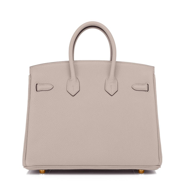 Hermes Birkin 25cm Gris Asphalte Grey Beige Bag Gold Hardware Y Stamp, 2020 For Sale 1