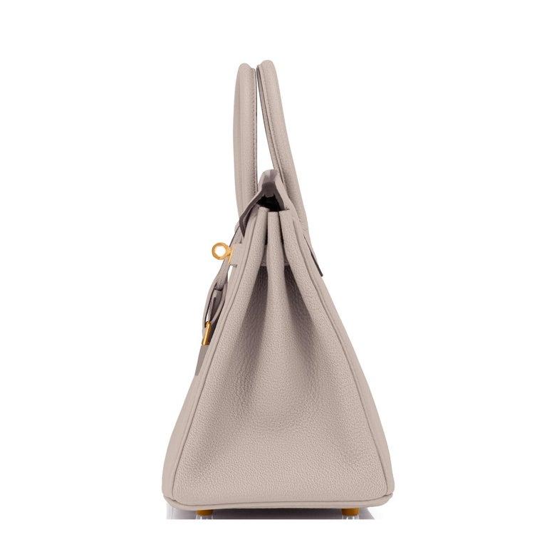 Hermes Birkin 25cm Gris Asphalte Grey Beige Bag Gold Hardware Y Stamp, 2020 For Sale 2