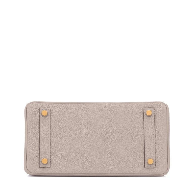 Hermes Birkin 25cm Gris Asphalte Grey Beige Bag Gold Hardware Y Stamp, 2020 For Sale 3