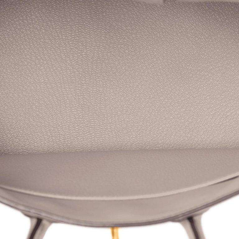 Hermes Birkin 25cm Gris Asphalte Grey Beige Bag Gold Hardware Y Stamp, 2020 For Sale 4