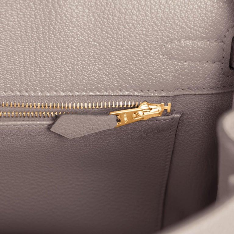 Hermes Birkin 25cm Gris Asphalte Grey Beige Bag Gold Hardware Y Stamp, 2020 For Sale 5
