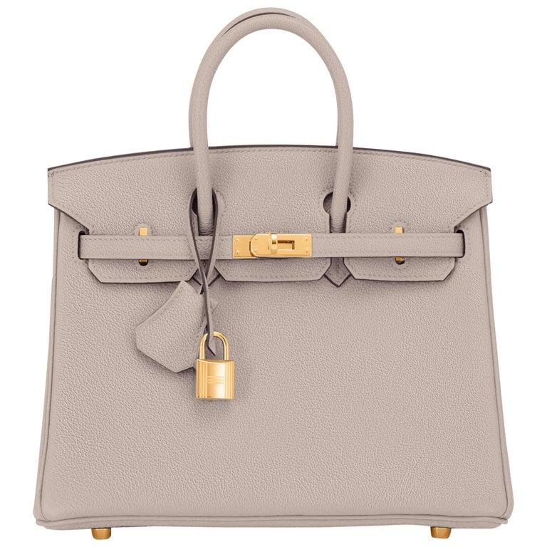 Hermes Birkin 25cm Gris Asphalte Grey Beige Bag Gold Hardware Y Stamp, 2020 For Sale