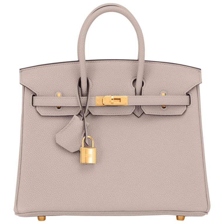 Hermes Birkin 25cm Gris Asphalte Grey Beige Bag Gold Hardware Y Stamp, 2020 For Sale