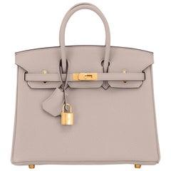 Hermes Birkin 25cm Gris Asphalte Grey Beige Bag Gold Hardware Y Stamp, 2020