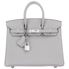 Hermes Birkin 25cm Gris Mouette Grey Togo Bag Palladium Birkin NEW RARE