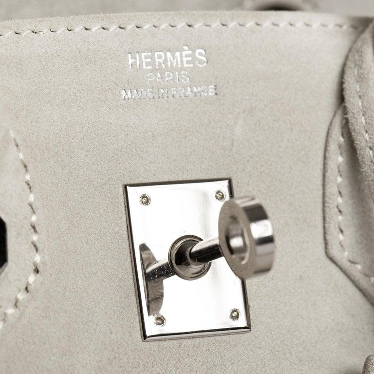 Gray Hermès Birkin 25cm Gris Perle Doblis Suede Leather Palladium Hardware For Sale