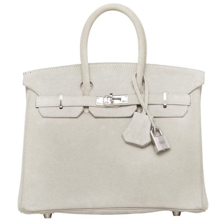 Hermès Birkin 25cm Gris Perle Doblis Suede Leather Palladium Hardware In Good Condition For Sale In Sydney, New South Wales