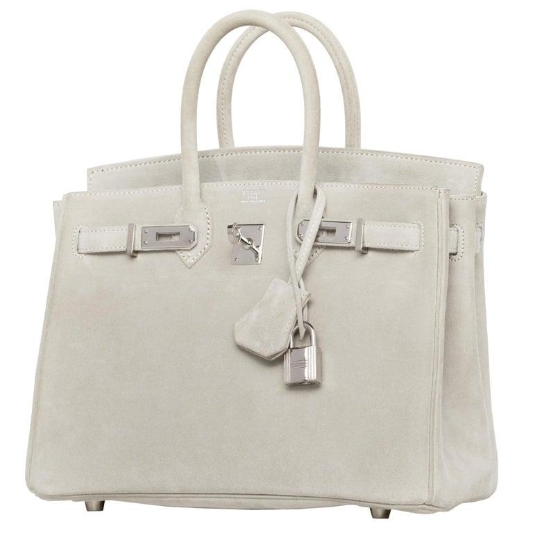 Hermès Birkin 25cm Gris Perle Doblis Suede Leather Palladium Hardware For Sale 1