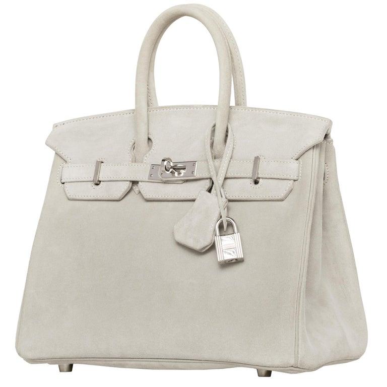 Hermès Birkin 25cm Gris Perle Doblis Suede Leather Palladium Hardware For Sale 2