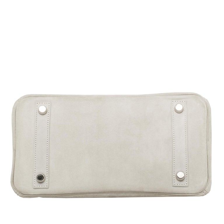 Hermès Birkin 25cm Gris Perle Doblis Suede Leather Palladium Hardware For Sale 4