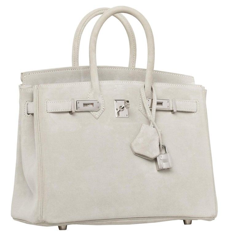 Hermès Birkin 25cm Gris Perle Doblis Suede Leather Palladium Hardware For Sale