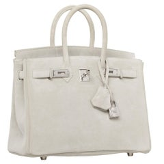 Hermès Birkin 25cm Gris Perle Doblis Suede Leather Palladium Hardware