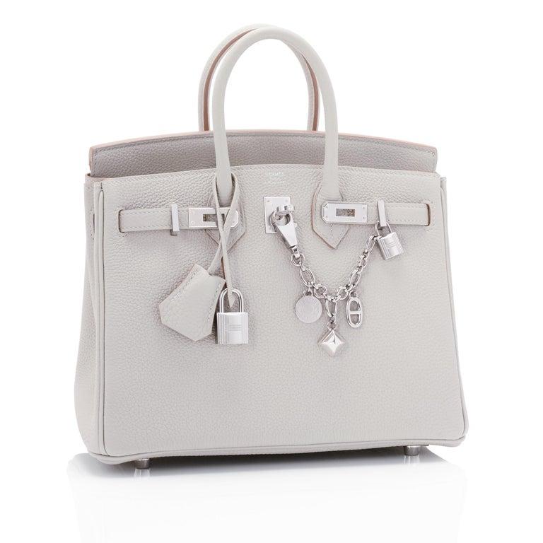 Hermes Birkin 25cm Gris Perle Togo Bag Palladium Hardware Pearl Gray Baby Birkin For Sale 6