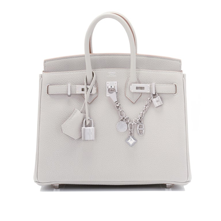 Hermes Birkin 25cm Gris Perle Togo Bag Palladium Hardware Pearl Gray Baby Birkin For Sale 7