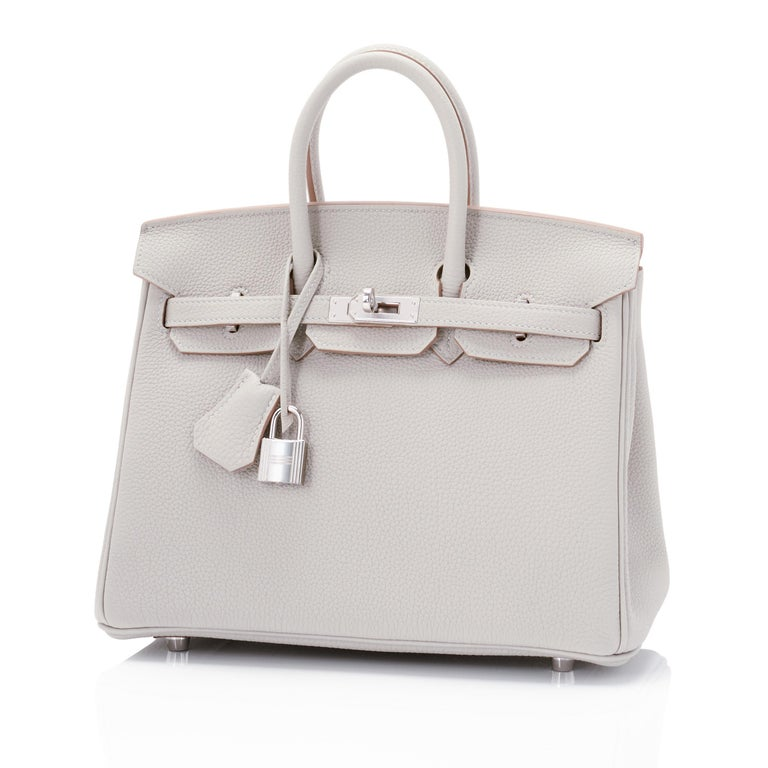 Hermes Birkin 25cm Gris Perle Togo Bag Palladium Hardware Brand New in Box. Store Fresh. Pristine Condition (with plastic on hardware)  Perfect gift! Comes full set with keys, lock, clochette, a sleeper for the bag, rain protector, and Hermes