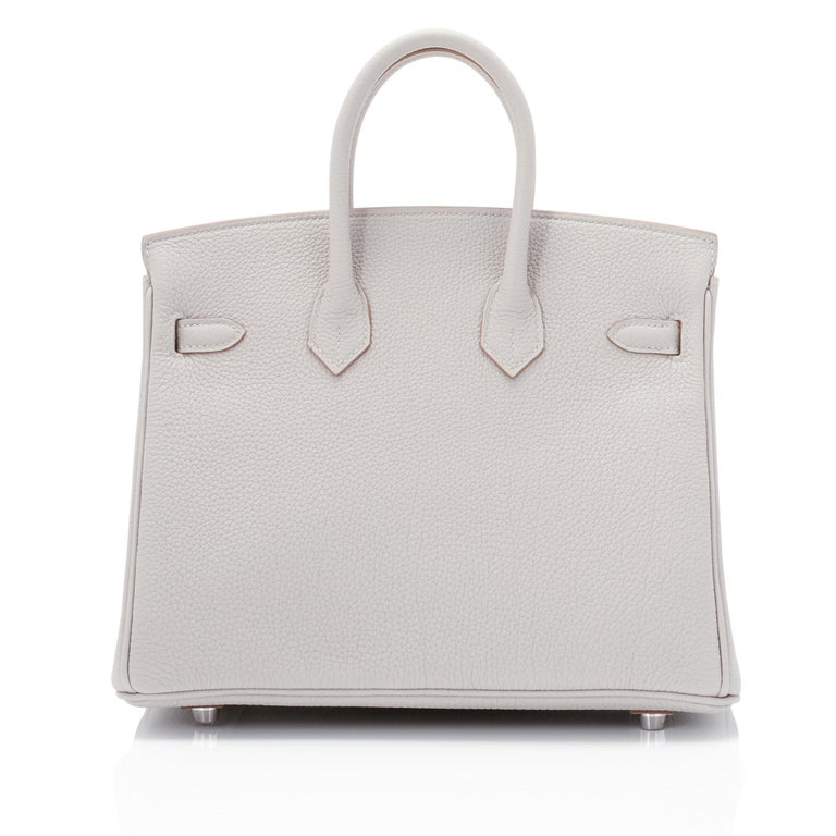 Hermes Birkin 25cm Gris Perle Togo Bag Palladium Hardware Pearl Gray Baby Birkin In New Condition For Sale In New York, NY