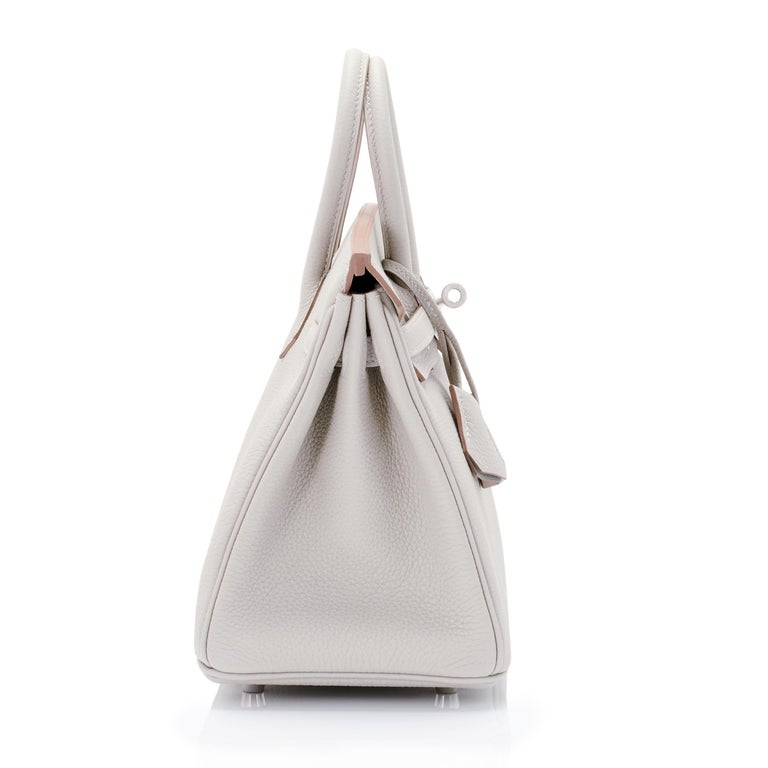 Hermes Birkin 25cm Gris Perle Togo Bag Palladium Hardware Pearl Gray Baby Birkin For Sale 1