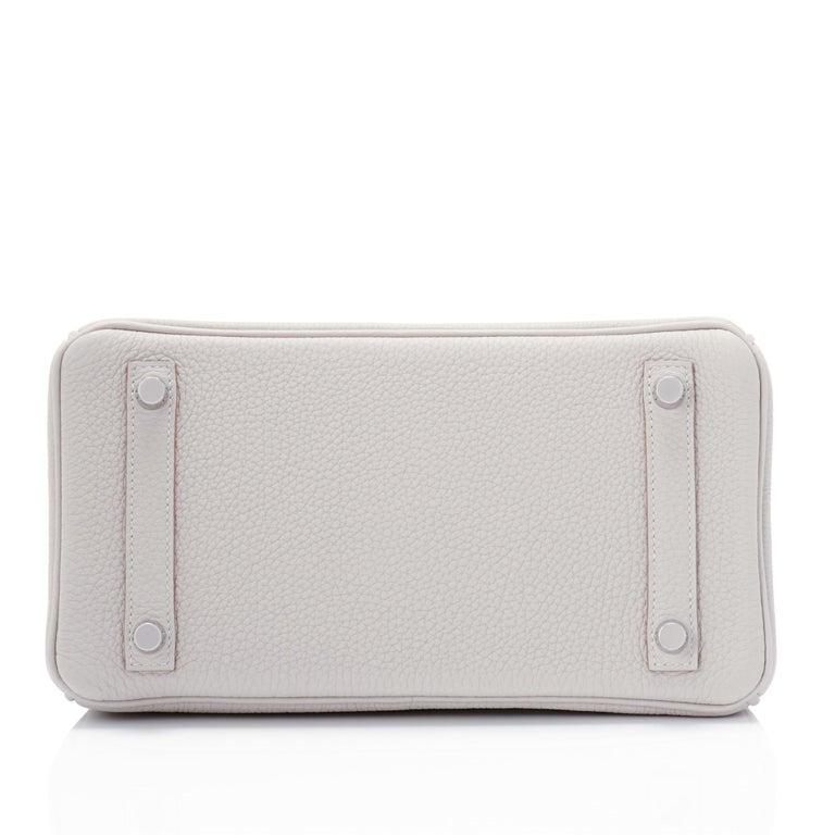 Hermes Birkin 25cm Gris Perle Togo Bag Palladium Hardware Pearl Gray Baby Birkin For Sale 2