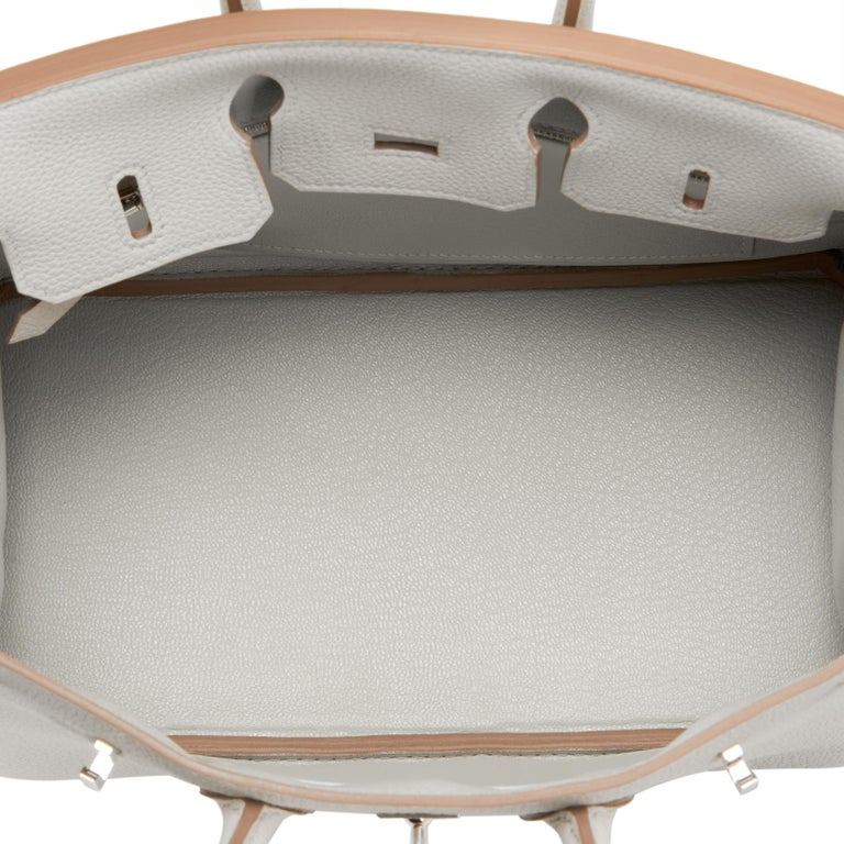 Hermes Birkin 25cm Gris Perle Togo Bag Palladium Hardware Pearl Gray Baby Birkin For Sale 3
